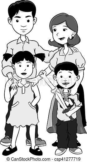 Happy Family With Two Children Cartoon Vector Grayscale