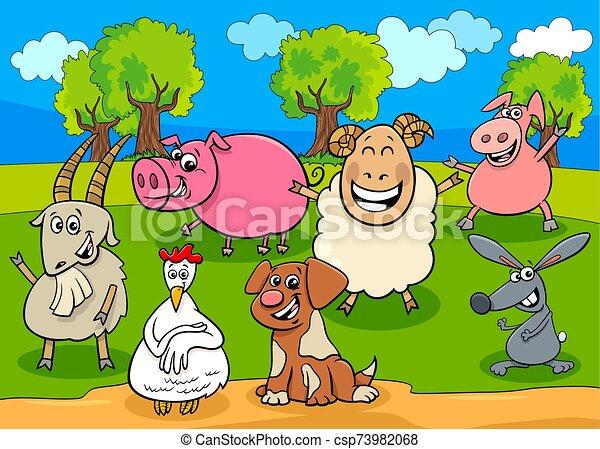 happy farm animals cartoon characters group - csp73982068
