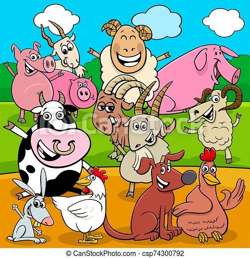 happy farm animals cartoon characters group - csp74300792