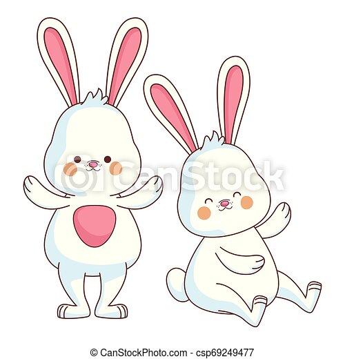 Happy farm animals cartoon - csp69249477