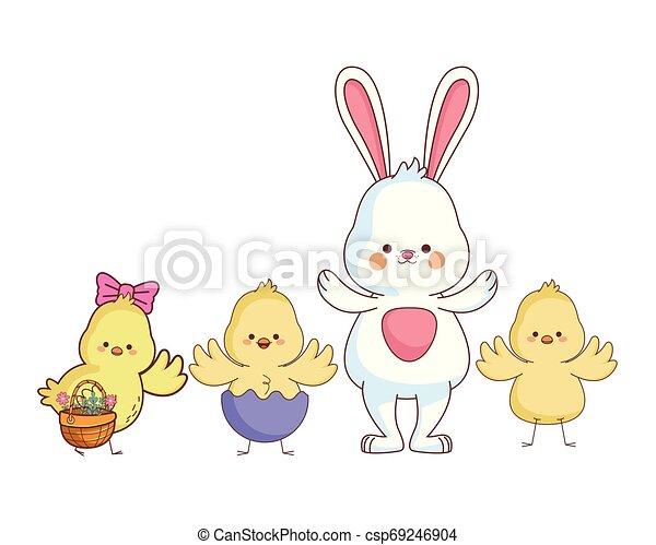 Happy farm animals cartoon - csp69246904