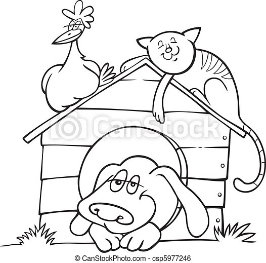 Happy farm animals for coloring book - csp5977246