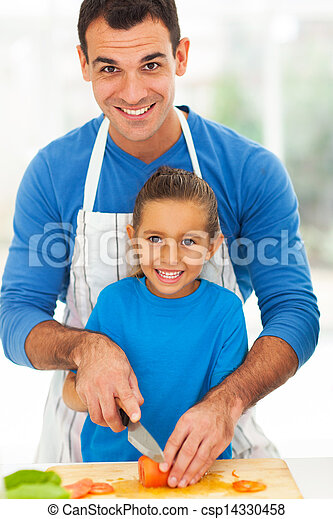 happy father daughter cooking together - csp14330458