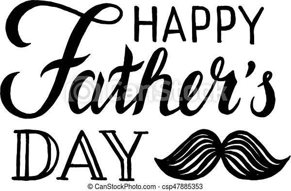 happy fathers day lettering with mustache isolated on white clipart rh canstockphoto com happy father's day clip art happy father's day clip art
