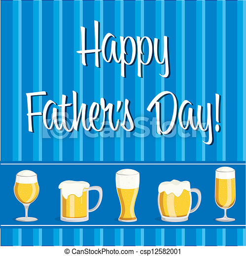 Happy Fathers Day Beer Theme Fathers Day Card In Vector Format
