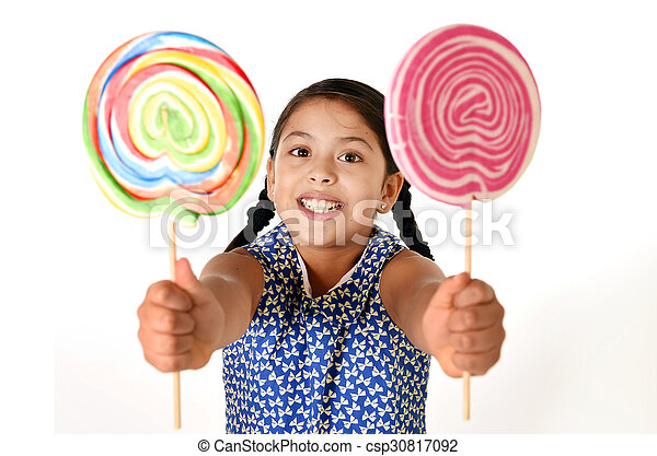 54d332723 Happy Female Child Holding Two Big Lollipop In Crazy Funny Face Expression  In Sugar Addiction