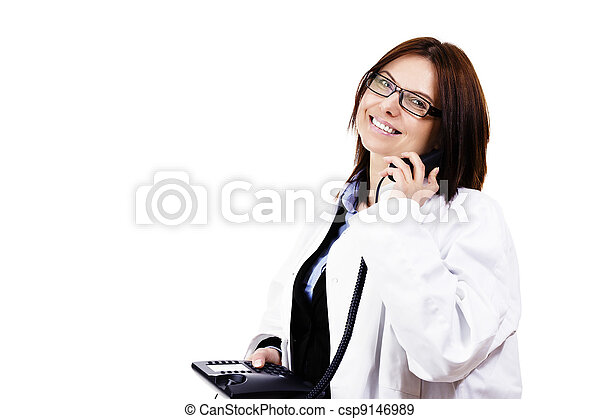 happy female doctor hanging on the phone on white background - csp9146989
