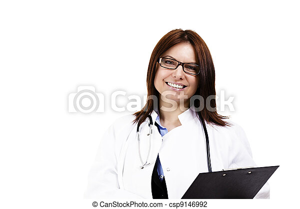 happy female doctor wit a clipboard on white background - csp9146992