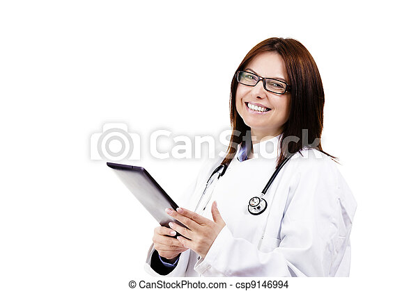 happy female doctor with a tablet pc on white background - csp9146994