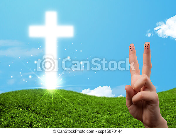 Happy finger smileys with christian religion cross - csp15870144