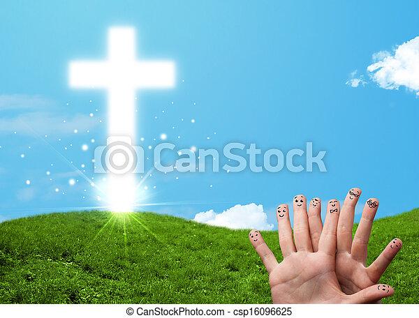 Happy finger smileys with christian religion cross - csp16096625