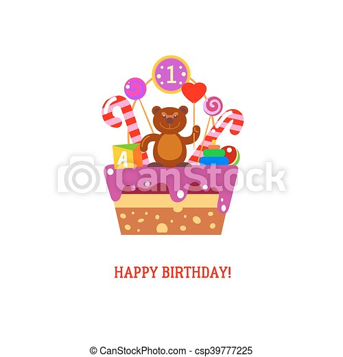 Happy First Birthday Cake With Bear Happy First Birthday Cake With