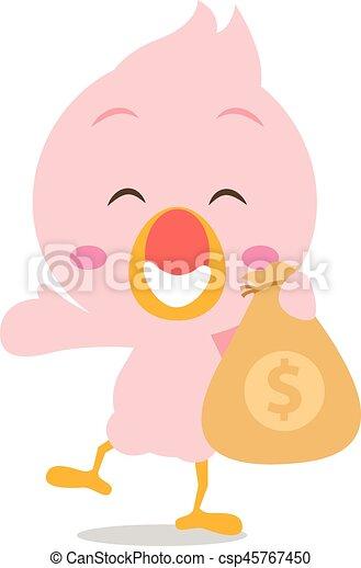 Happy flamingo with money character - csp45767450