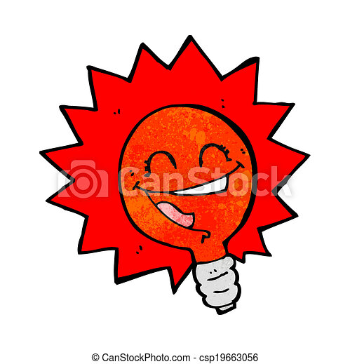 Happy Flashing Red Light Bulb Cartoon   Csp19663056