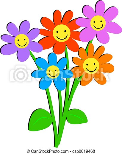 Happy Flowers Bunch Of With Faces Stock