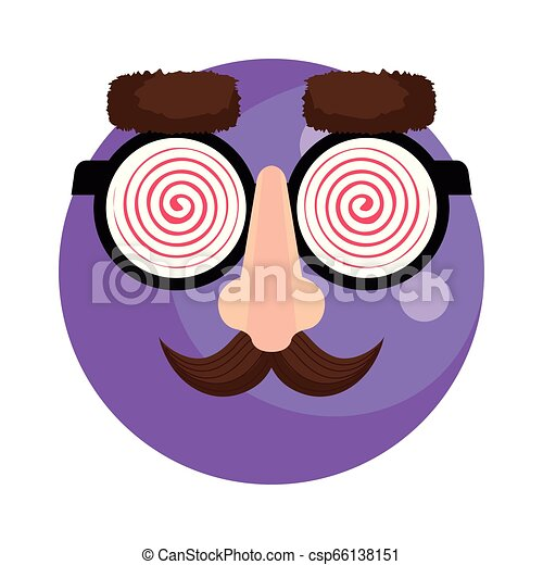 happy fool face emoticon with glasses and mustache - csp66138151
