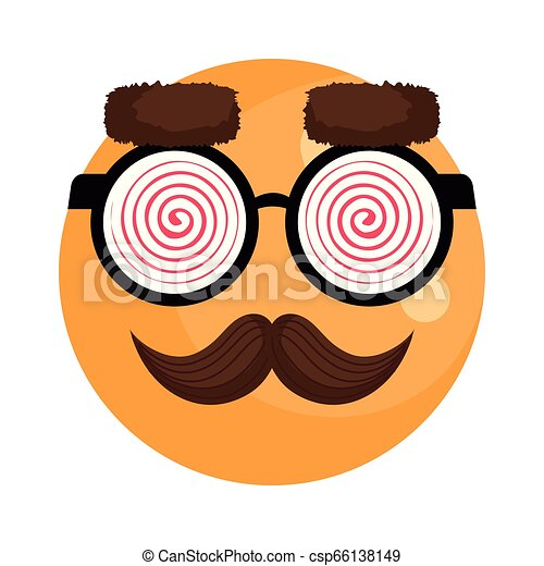 happy fool face emoticon with glasses and mustache - csp66138149