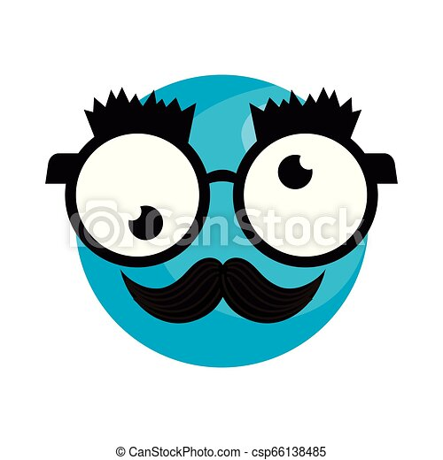 happy fool face emoticon with glasses and mustache - csp66138485