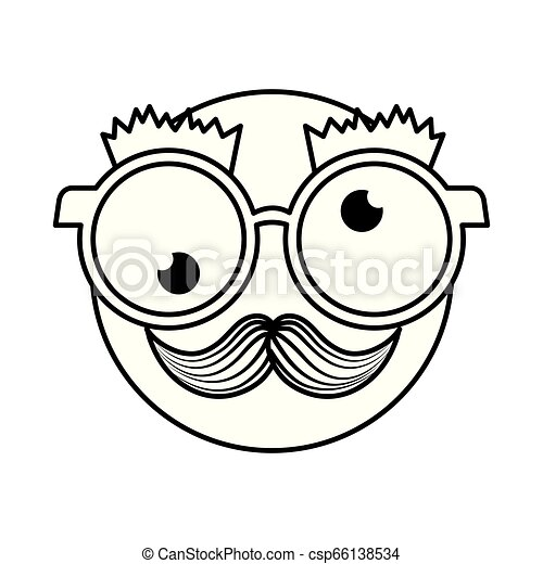 happy fool face emoticon with glasses and mustache - csp66138534
