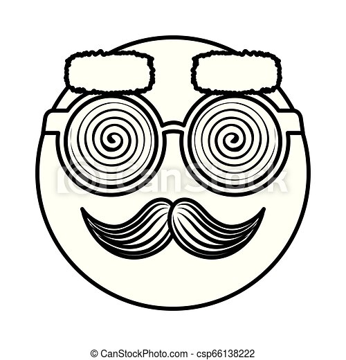 happy fool face emoticon with glasses and mustache - csp66138222