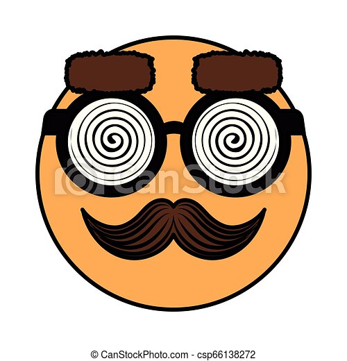 happy fool face emoticon with glasses and mustache - csp66138272
