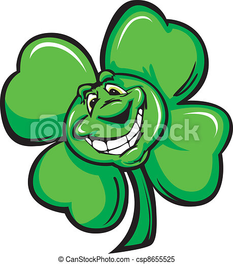 happy four leaf clover shamrock car cartoon vector clipart rh canstockphoto com clip art shamrock clip art shamrock black and white