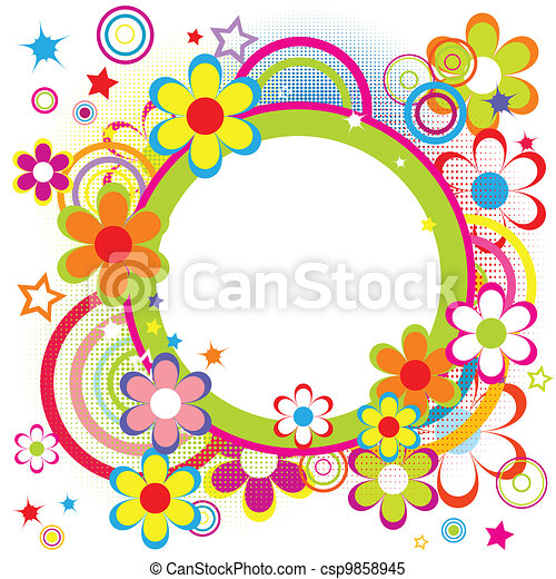 Happy birthday frame with butterflies, flowers, and stars. Here is a ...