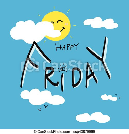 Happy Friday On Cute Blue Sky And Cloud Cartoon Illustration