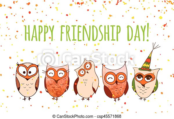 Happy friends enjoying Friendship Day. Vector cartoon hand drawn owls for your design. - csp45571868