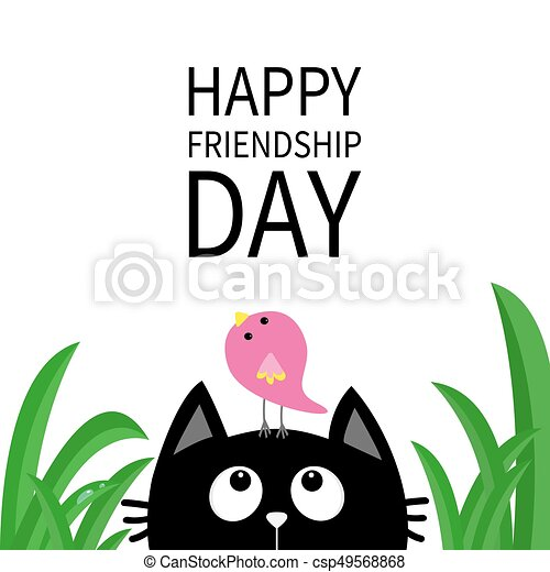 Happy Friendship Day. Cute Black Cat Looking Up To Bird On Head. Funny  Cartoon