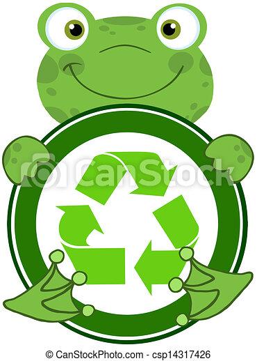 Happy Frog Hugging Banner - csp14317426