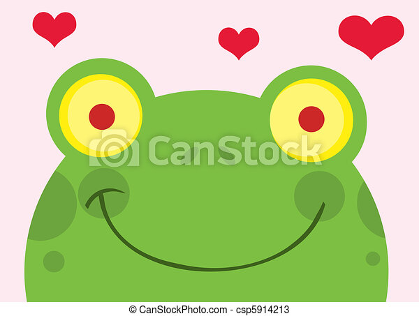 Happy Frog With Hearts  - csp5914213