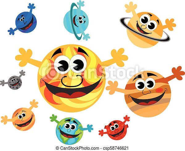 Happy Funny Cartoon Characters Planets Of Solar System And The Sun With Open Hands Isolated Canstock