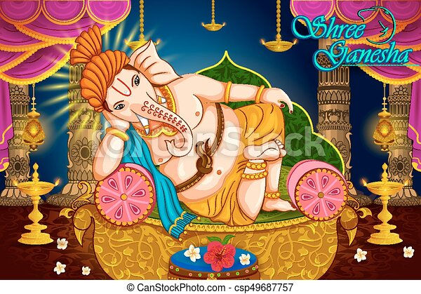Happy Ganesh Chaturthi festival celebration of India - csp49687757