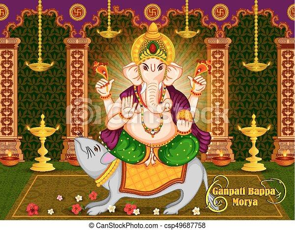 Happy Ganesh Chaturthi festival celebration of India - csp49687758