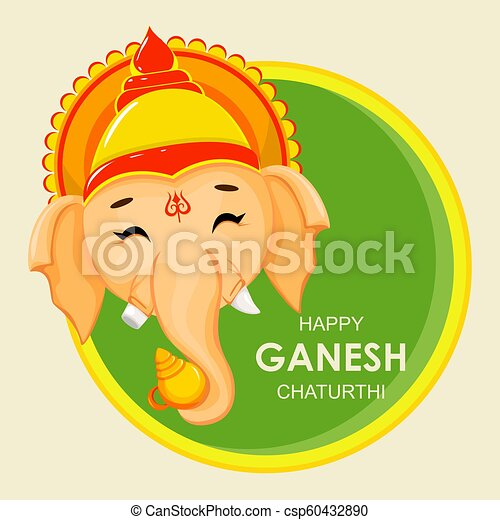 Happy ganesh chaturthi greeting card for traditional indian festival happy ganesh chaturthi greeting card for traditional indian festival face of lord ganesha in cartoon style vector illustration on background with circles m4hsunfo