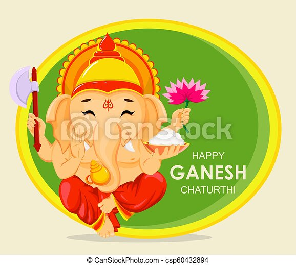 Happy ganesh chaturthi greeting card for traditional indian festival happy ganesh chaturthi greeting card for traditional indian festival sitting lord ganesha with four hands vector illustration on abstract background m4hsunfo