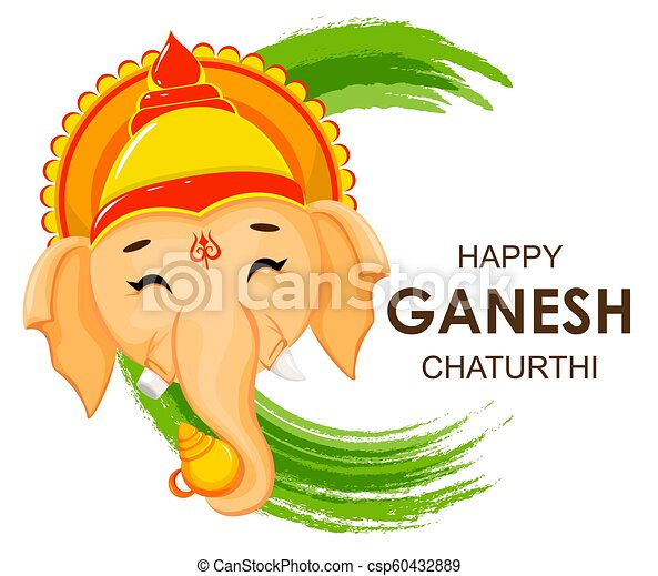 Happy ganesh chaturthi greeting card for traditional indian festival happy ganesh chaturthi greeting card for traditional indian festival face of lord ganesha in cartoon style vector illustration on green watercolor m4hsunfo