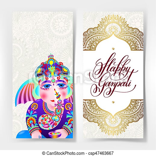 Happy Ganpati Greeting Card Design