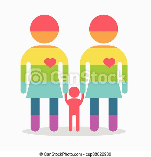 happy gay girl family rainbow icon happy lesbians family vectors rh canstockphoto com gay wedding clipart gay couple clipart