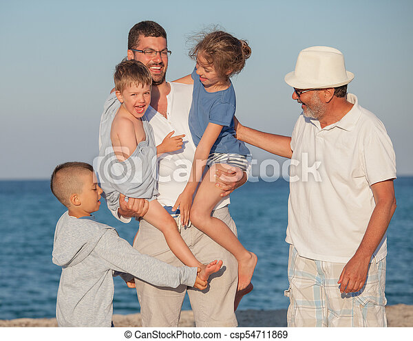 Happy Generations Family Sea Father Kids Grandfather - csp54711869
