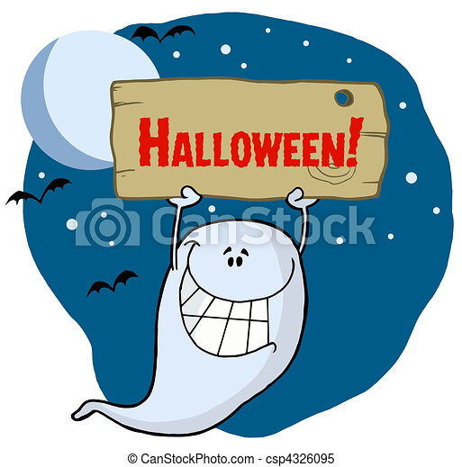 Happy Ghost With Plate Grinning Ghoul Holding Up A Wooden