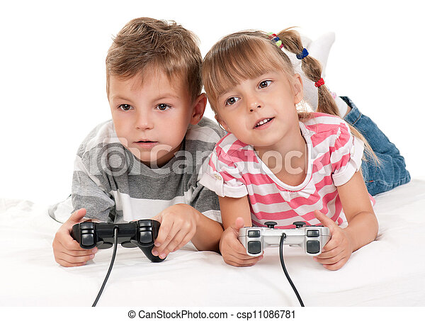 Happy girl and boy playing a video game - csp11086781