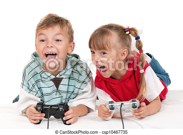 Happy girl and boy playing a video game - csp10467735