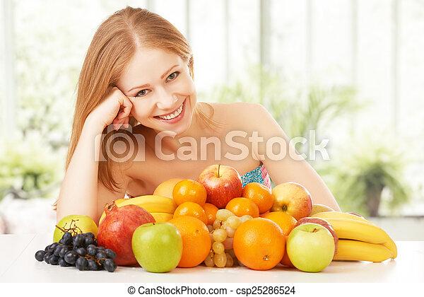 happy girl and healthy vegetarian food, fruit - csp25286524
