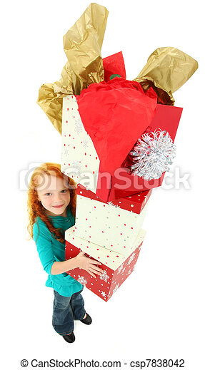 Happy Girl Child Carrying Stack of Gift Boxes - csp7838042