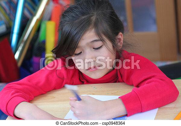 Happy girl drawing - csp0948364