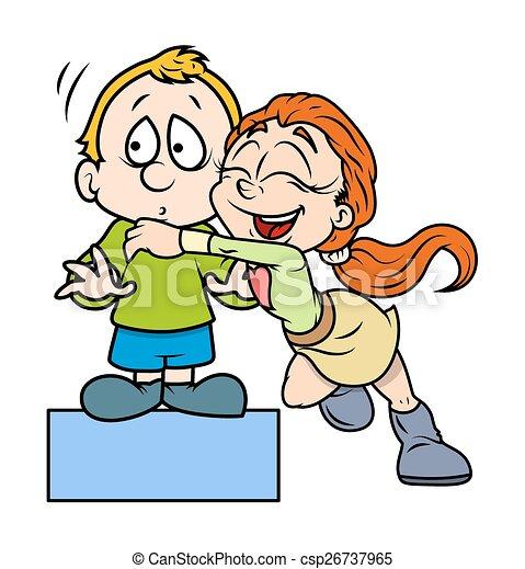 happy girl hugs a cute boy cartoon cheerful young girl clip art rh canstockphoto ca group hug clipart hug clip art images