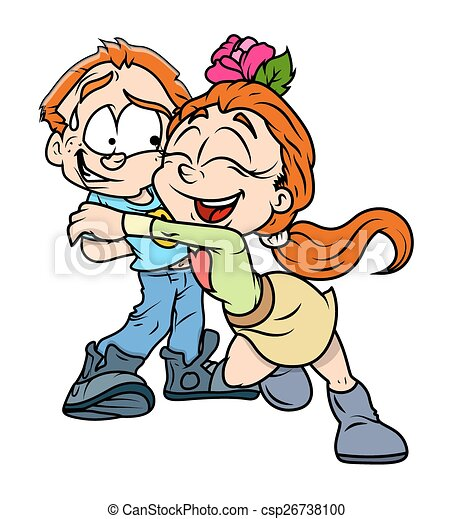 happy girl hugs her boyfriend cartoon funny girl hugging to rh canstockphoto com clip art hug friendship clipart hugs and kisses free
