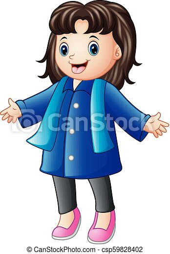 Happy girl in blue winter clothes - csp59828402